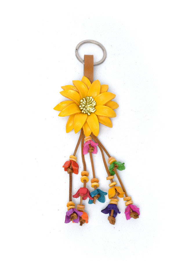 Leather Flower Keyring