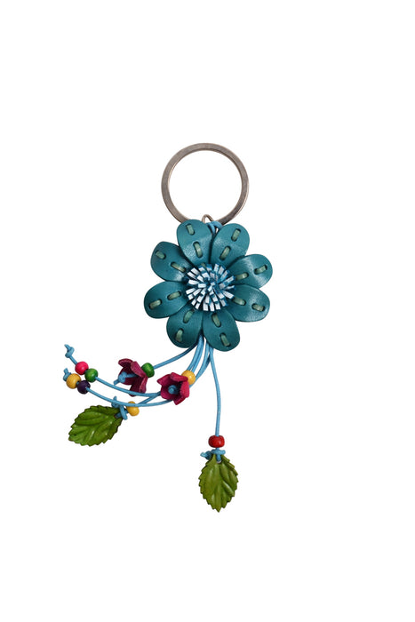 Leather Flower Keyring - Keshet Unique Colourful Women's Clothing Tasmania Australia