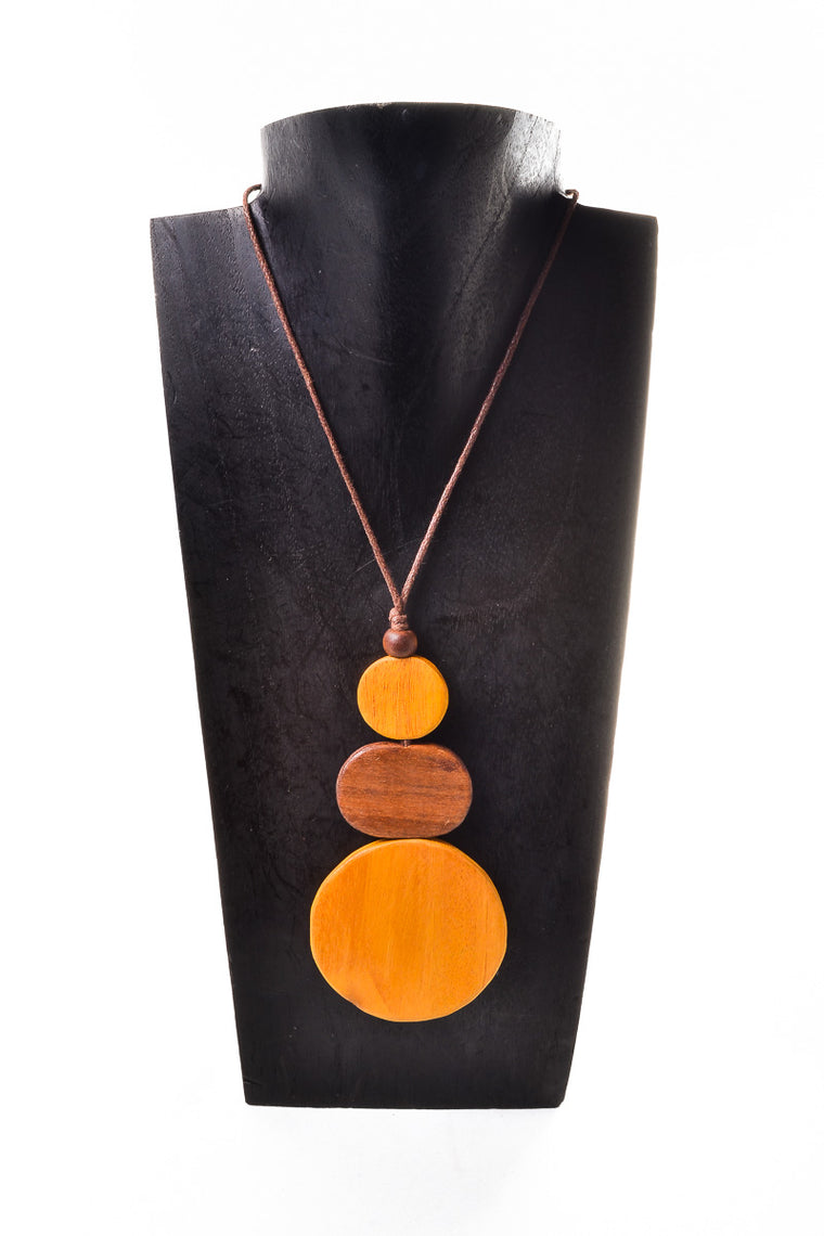 Wooden Triple Circle Necklace - Keshet Unique Colourful Women's Clothing Tasmania Australia