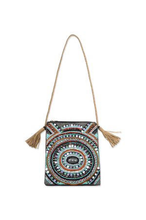 Load image into Gallery viewer, Turquoise Astral Hand Beaded Embellished Bag