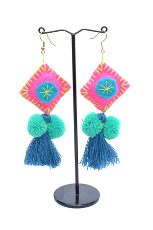 Load image into Gallery viewer, Pom Pom Tassel Earrings - Keshet Unique Colourful Women's Clothing Tasmania Australia
