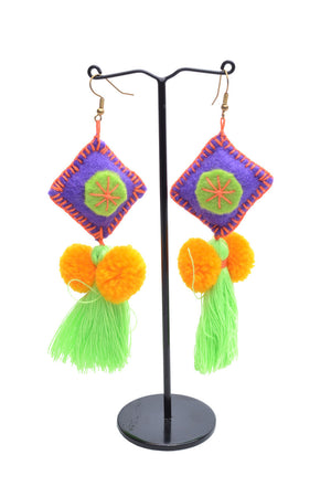 Pom Pom Tassel Earrings - Keshet Unique Colourful Women's Clothing Tasmania Australia
