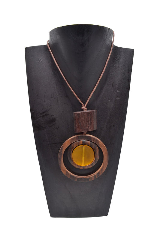Resin Wood Circle Necklace - Keshet Clothing Tasmania