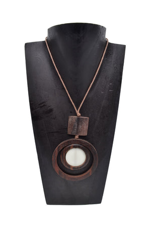 Resin Wood Circle Necklace - Keshet Design