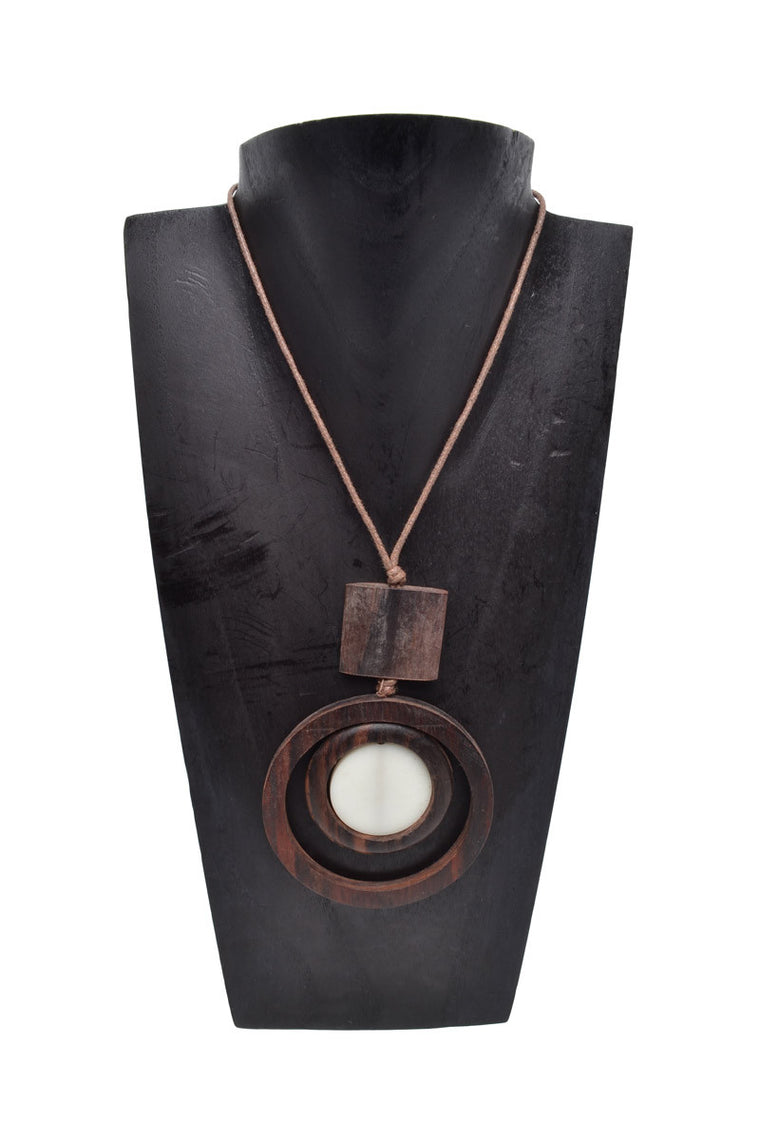 Resin Wood Circle Necklace