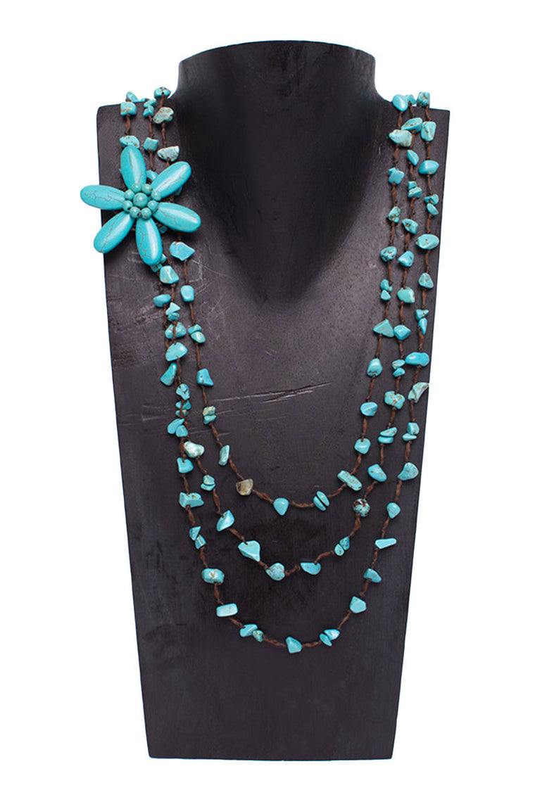 Semi-Precious Stone & Shell Flower Necklace