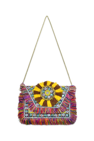 Rainbow Jungle Hand Beaded Embellished Bag