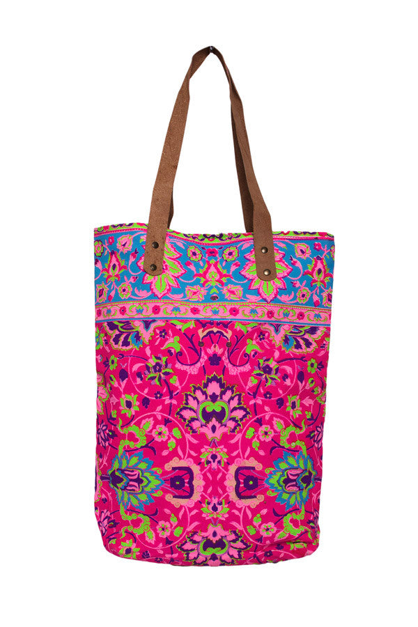 Fluoro Tote with Leather handle - Keshet Clothing Tasmania