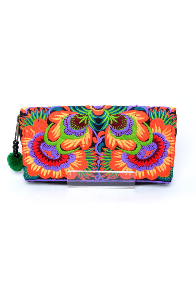 Embroidered Orchid Wallet - Keshet Unique Colourful Women's Clothing Tasmania Australia