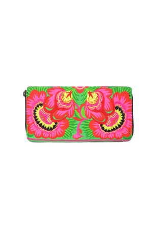 Embroidered Orchid Wallet - Keshet Design
