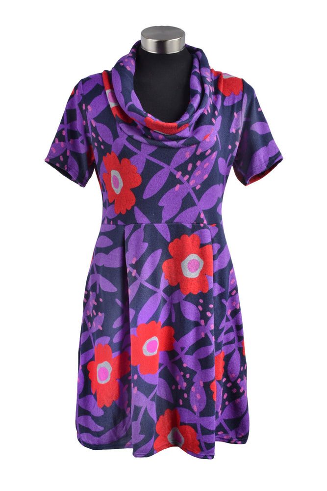 Load image into Gallery viewer, Katie Rollneck Pleated Babydoll Dress - Keshet Unique Colourful Women's Clothing Tasmania Australia