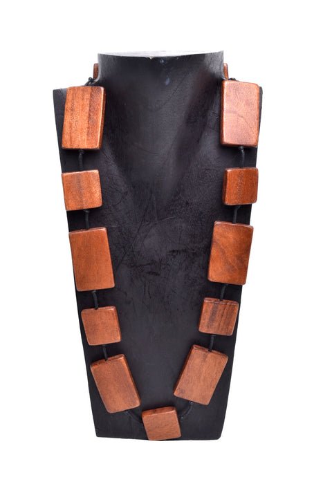 Wooden Rectangle Necklace - Keshet Unique Colourful Women's Clothing Tasmania Australia