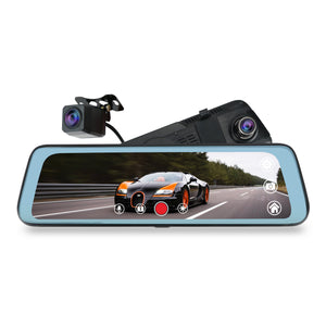 "9.66"" dual full hd 1080p dash camera dual record Stream Media Mirror full screen display mirror camera"