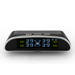 Solar Power USB TPMS Car Tire Pressure Monitoring System LCD Display 4 External Sensors TPMS