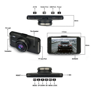 FHD 1080P DUAL RECORD DASH CAMERA with HD 4 inch IPS TFT GOOD NIGHT VISION 6 GLASSES BIG LENS DVR