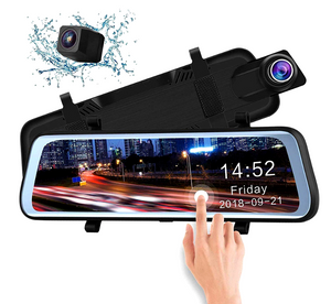 "9.66"" IPS Touch Screen 1080P Rear View Mirror Car Camera M50"