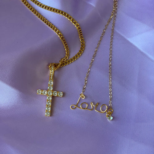 NECKLACE SET - Custom Wire Name + Crystal Cross