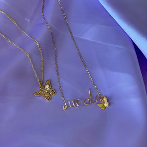 NECKLACE SET - Custom Name + Butterfly