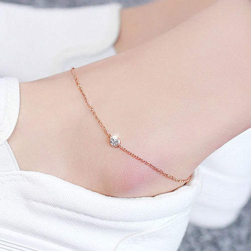 Anklet- Simple Crystal