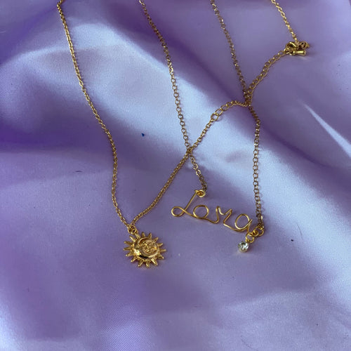NECKLACE SET - Custom Name with Sun