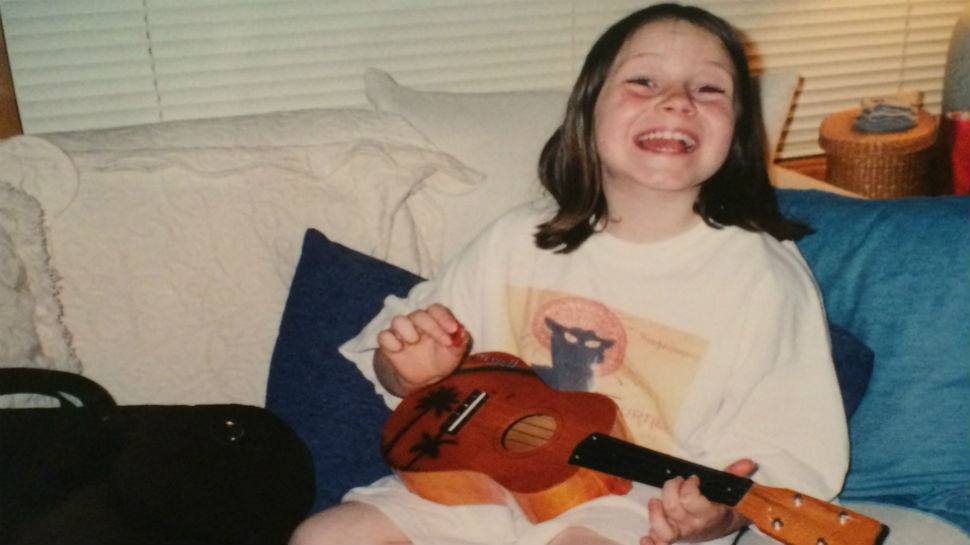 Alexa Peters, music journalist, with her first ukulele