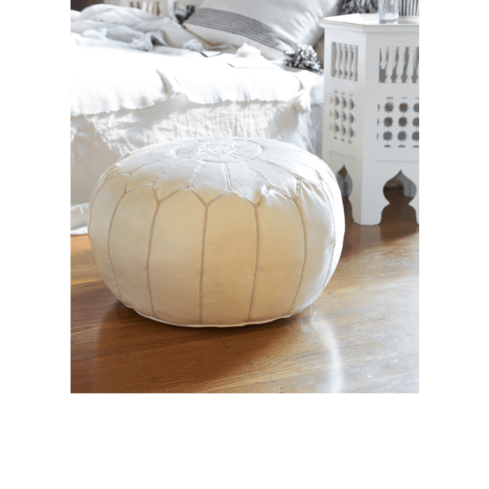 Moroccan Leather Pouf in White