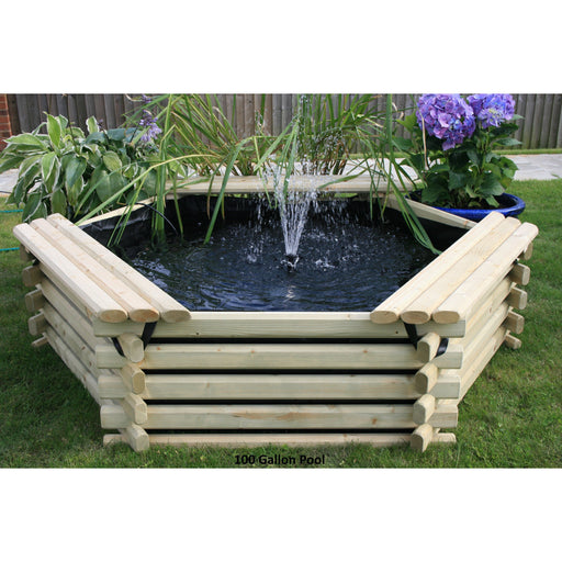 Norlog 100 Gallon Raised Decorative Wooden Fish Pond - gardenandpatio