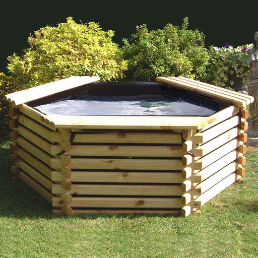 Norlog 175 Gallon Raised Decorative Wooden Fish Pond - gardenandpatio