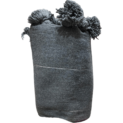 Pom Pom premium Wool blanket or throw in Charcoal Grey