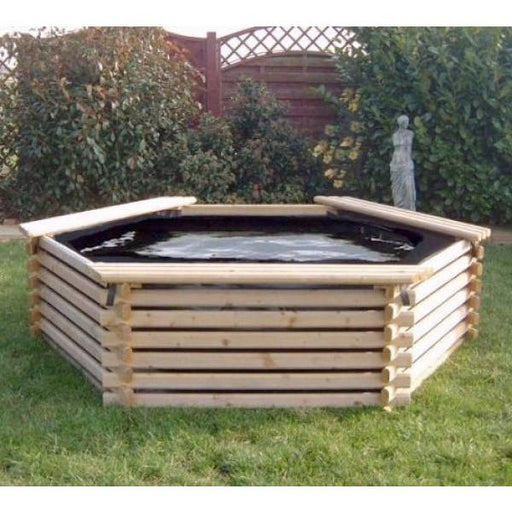 Norlog 300 Gallon Raised Decorative Wooden Fish Pond - gardenandpatio