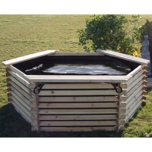 Norlog 400 Gallon Raised Decorative Wooden Fish Pond - gardenandpatio