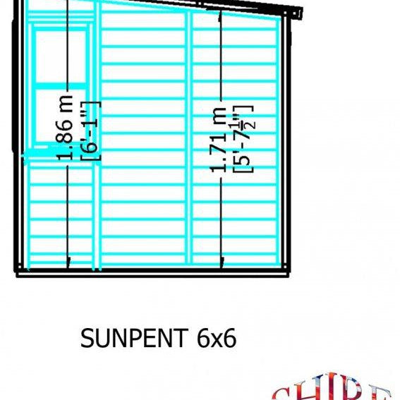 Shire Sun Pent Shiplap Potting Shed 6x6