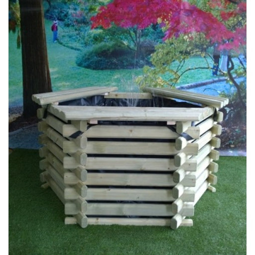 Norlog 75 Gallon Raised Decorative Wooden Fish Pond - gardenandpatio