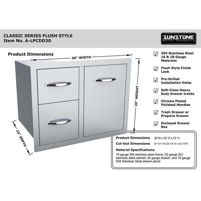 SunStone Outdoor Kitchen Double Drawer Trash Combo