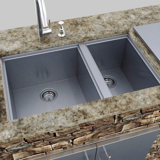 SunStone Outdoor Kitchen Water Double Sink with cover