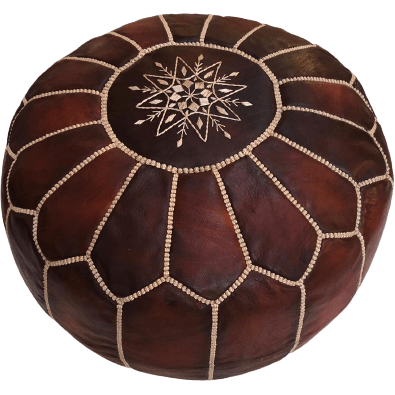 Moroccan Leather Pouf in Dark Brown