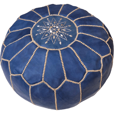 Moroccan Leather Pouf in Blue