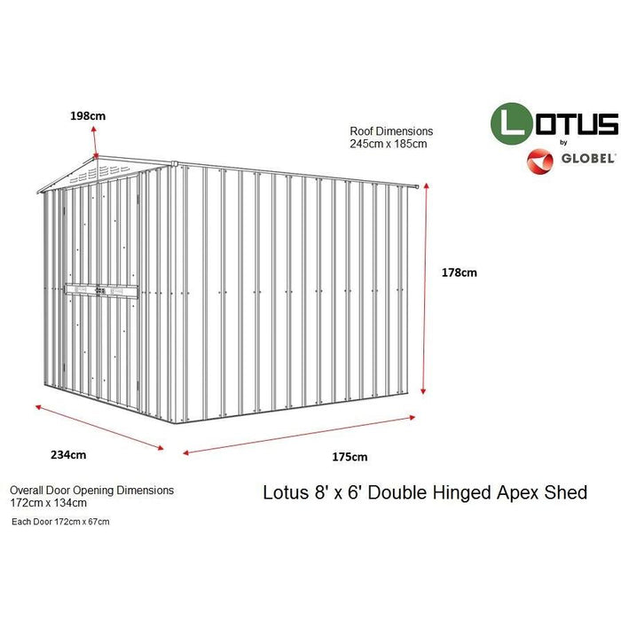 Lotus 8x6 Double Hinged Apex Metal Shed in Grey
