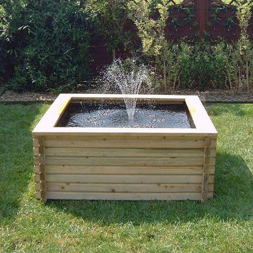 Norlog 120 Gallon Raised Decorative Wooden Square Fish Pond - gardenandpatio