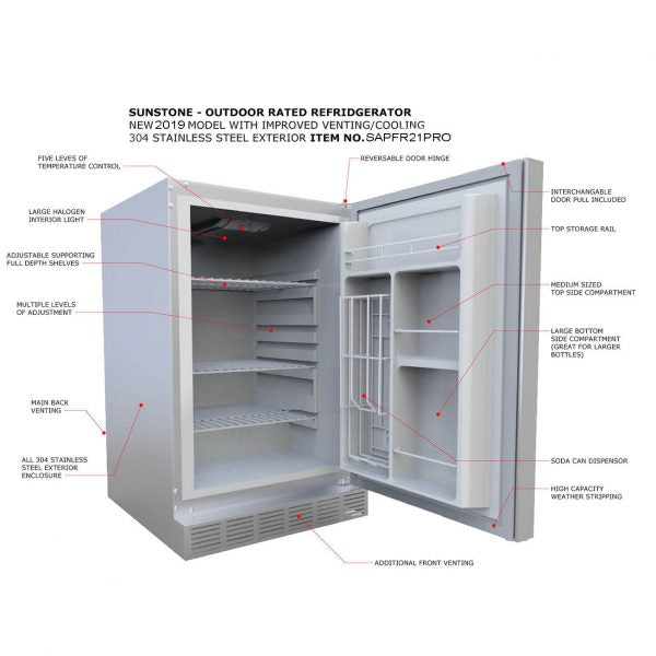 SunStone Outdoor Kitchen Refrigerator