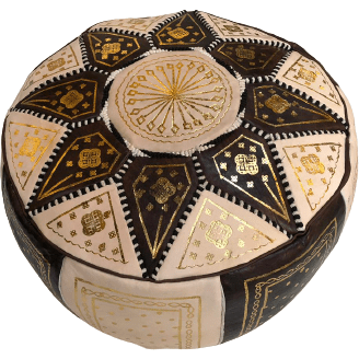 Moroccan Leather Pouf in Brown & Gold
