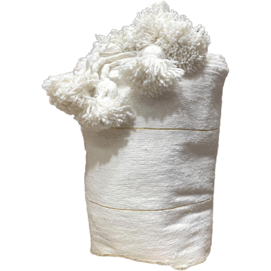 Pom Pom premium Wool blanket or throw in Off White