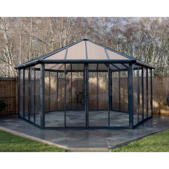 Palram Garda Garden Gazebo Grey Bronze with 6 sliding double doors