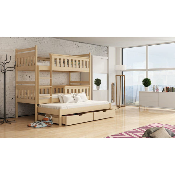 ARTE Wooden Bunk Bed Kors with Trundle and Storage