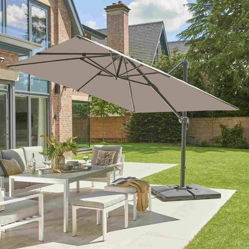 Norfolk Leisure Royce Executive Standard Soft Grey Cantilever Parasol 3x3M
