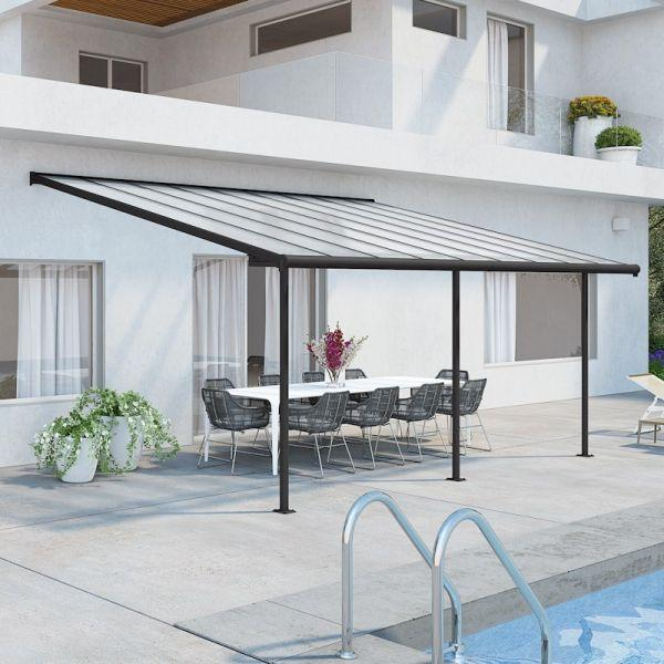 Palram Sierra Patio Cover 3m x 5.46m Grey Clear