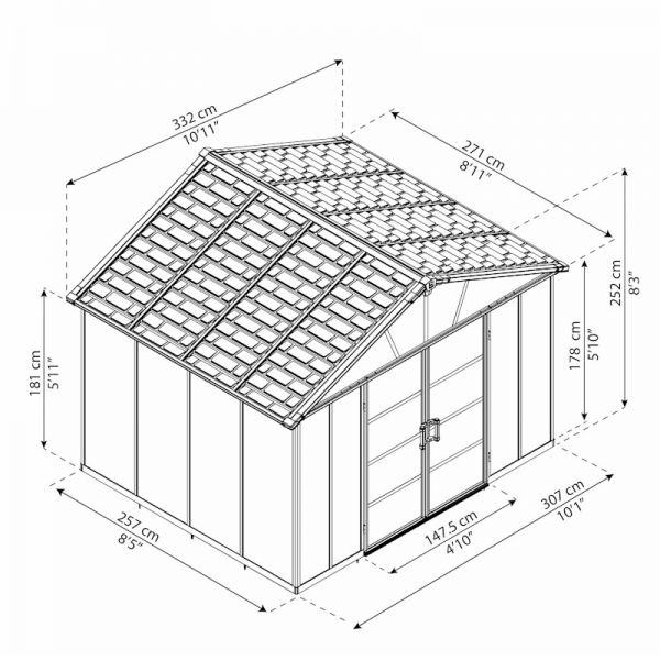 Yukon 11X9 Dark Grey Shed+FLOOR WPC
