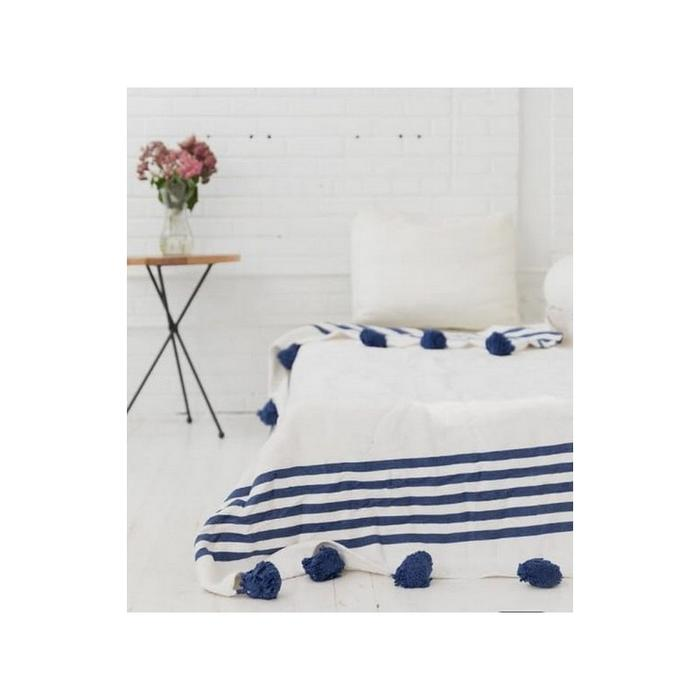 Pom Pom premium Wool blanket or throw in Blue stripes