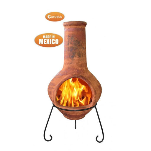 Jumbo Mexican Chimenea Tibor brown including stand and lid