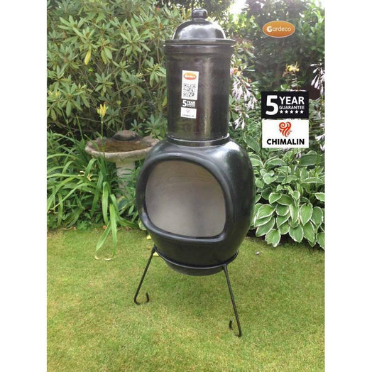 Asteria XL Chimalin AFC chimenea in glazed black